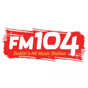 FM104 logo on red background