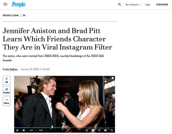 People magazine screenshot Brad and Jen friends filter story