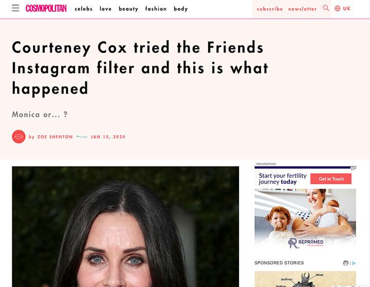 Cosmopoliton Courtney Cox instagram filter screeshot
