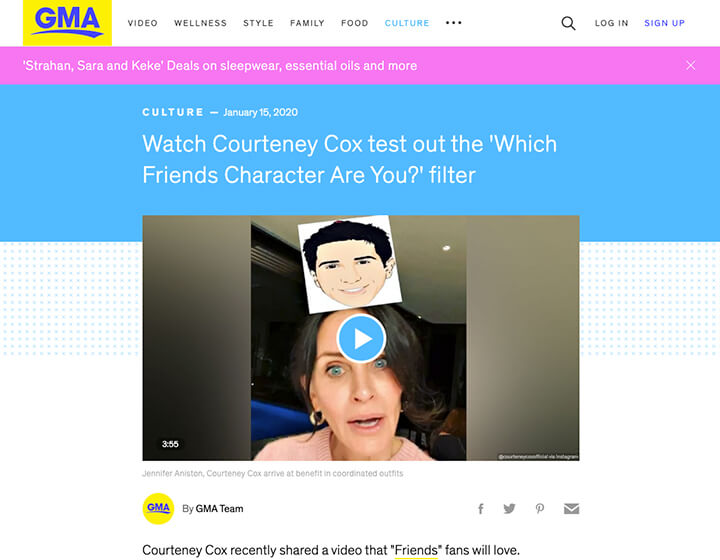 Courtney Cox instagram filter Good Morning America story