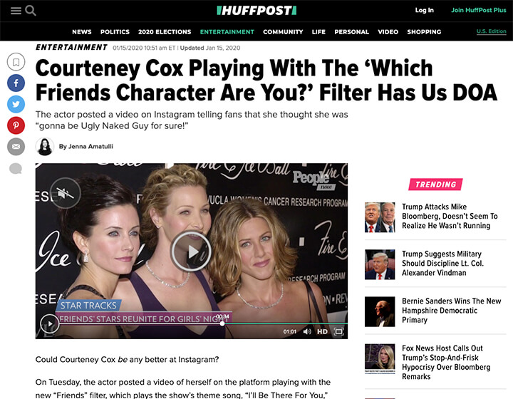 Huffpost Friends instagram filter story screenshot