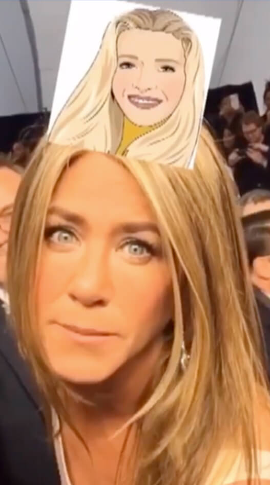 Jennifer Aniston using which Friends character instagram Filter